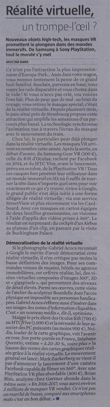 article du Journal du Dimanche - réalité virtuelle